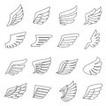 Wings outline gray icons vector set. Minimalistic design. Royalty Free Stock Photo
