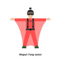Wingsuit flying wingsuit flight healthcare and sport logo icon concept vector illustration Royalty Free Stock Photography