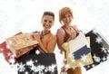 Winkelende meisjes met sneeuwvlokken Stock Afbeelding