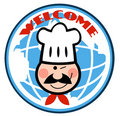 Winking chef face over a globe Royalty Free Stock Photo