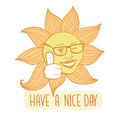 The winking sun. Have a nice day vector card Royalty Free Stock Photo