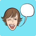 Winking young woman with speech bubble