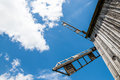 Winmill blades windmill with clouds and the sky with plenty of room for text or graphics Royalty Free Stock Images