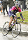 Winner anacona of team lampre merida rides during the tour catalonia cycling race through the streets monjuich mountain in Royalty Free Stock Image