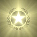 Winner badge star and olive leaf light flare a shiny five points pentacle surrounded by leafs shining with powerful flares award Royalty Free Stock Photo