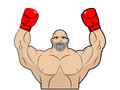 Winner, champion of boxing. Strong man on white background. Body