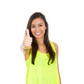 Winner closeup portrait young pretty smiling woman student customer giving thumbs up sign isolated white background positive human Stock Image