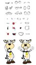 Winner cow cartoon expressions set in vector format very easy to edit Stock Image