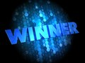 Winner on Dark Digital Background. Royalty Free Stock Images
