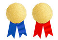 Winner gold seal medal award with blue and red ribbon Royalty Free Stock Photo