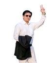 Winner happy businessman isolated on white background celebrating victory Royalty Free Stock Image