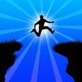winner jumping