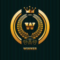 Winner Logo real estate property gold crown logo template eps 10