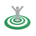 Winner man stand on green circles Royalty Free Stock Photo