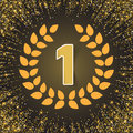 Winner, number one with shadow , red ribbon, olive branch on abstract gold glitter splatter background . Poster or Royalty Free Stock Photo