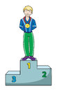 Winner on a podium with gold medal Royalty Free Stock Images