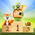 Winner on podium illustration of animals Royalty Free Stock Photo
