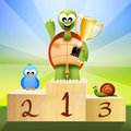 Winner on podium illustration of animals Royalty Free Stock Photos