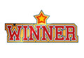 Winner sign with shiny star shape Royalty Free Stock Photography