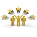 Winner team three people one with hands up Royalty Free Stock Photo