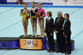 The winners of competition on a balance beam moscow apr european artistic gymnastics championships awarding larisa iordache Stock Photography