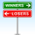 Winners and losers directional sign Royalty Free Stock Photo