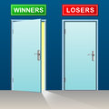 Winners and losers doors Royalty Free Stock Photo