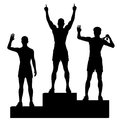 Winners podium editable vector silhouettes of three male athletes celebrating on a medal with each figure as a separate object Royalty Free Stock Images