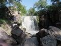 Winnewissa falls winnesissa cut through sioux quartzite stone in pipe stone national monument Stock Image