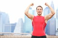 Winning athlete man celebrating Royalty Free Stock Photos