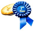 Winning badge with a pie Royalty Free Stock Photography