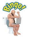 Winning Bingo Toilet Entertainment Illustration
