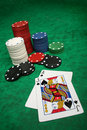 A winning blackjack hand Royalty Free Stock Photo
