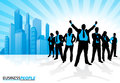 Winning business team against city skyline illustration of a group of male and female people in dynamic poses depicted as Royalty Free Stock Photos