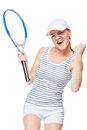 The winning female tennis player is happy on a white Royalty Free Stock Photo