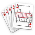 A winning hand royal flush playing cards words on in as competitive advantage in game like poker life business or career Stock Photos