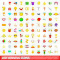 100 winning icons set, cartoon style