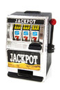 Winning the jackpot machine closeup isolated over white Royalty Free Stock Photo