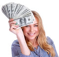 Winning money concept portrait of attractive cheerful female showing many banknotes of one hundred dollars isolated on white Stock Images