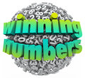 Winning numbers ball lottery jackpot game sweepstakes of digits sphere illustrating a or other prize or award Stock Image