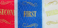 Winning ribbons for first second and third place Royalty Free Stock Images
