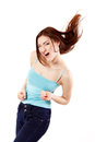 Winning teen girl happy ecstatic gesturing success isolated on white background Stock Photos