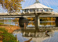 Winnipeg the beautiful downtown at forks and riel esplanade bridge a restaurant and geese enjoying warm fall weather Stock Photo