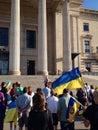 Winnipeg s ukrainian community rallies august mb canada legislative building the canadian congress manitoba provincial counsel Royalty Free Stock Photography