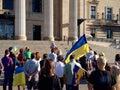 Winnipeg s ukrainian community rallies august mb canada legislative building the canadian congress manitoba provincial counsel Royalty Free Stock Photo