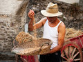 Winnowing - traditional agriculture demonstration Stock Photography