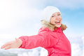 Winter activities in nature happy girl with open hands enjoying life young woman Royalty Free Stock Image