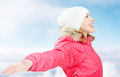 Winter activities in nature happy girl with open hands enjoying life young woman Stock Photography