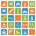 Winter activity games and fun outline icon set snow collection silhouette pictogram outdoor snow Royalty Free Stock Photos