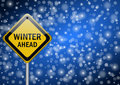 Winter ahead traffic sign Stock Photos